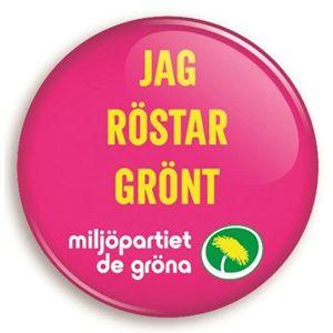 Bild på Knapp - Jag röstar grönt - körsbär